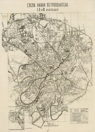 Схема линий метрополитена История Москвы в картинках Старые карты Москвы и других городов.