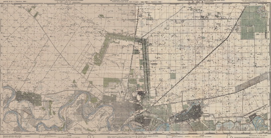1943 Карта РККА Краснодара в масштабе 1:50,000
