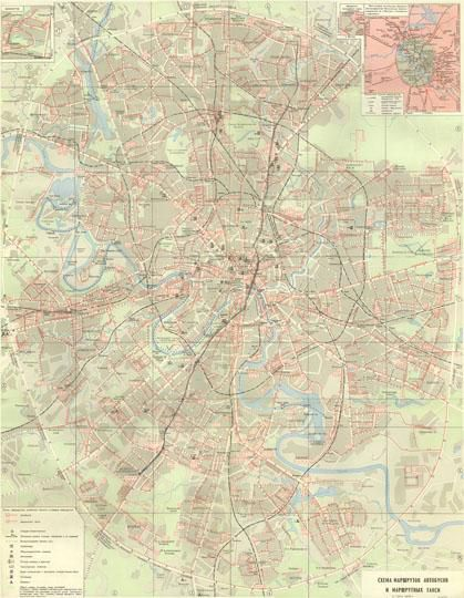 1979 Схема маршрутов автобусов.