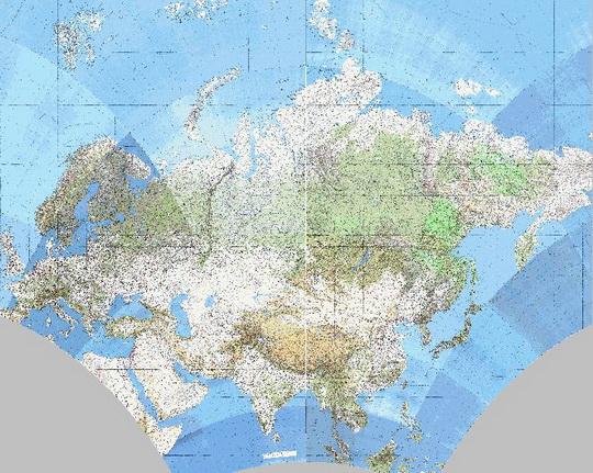1991 Карта Евразии 1:25,000,000